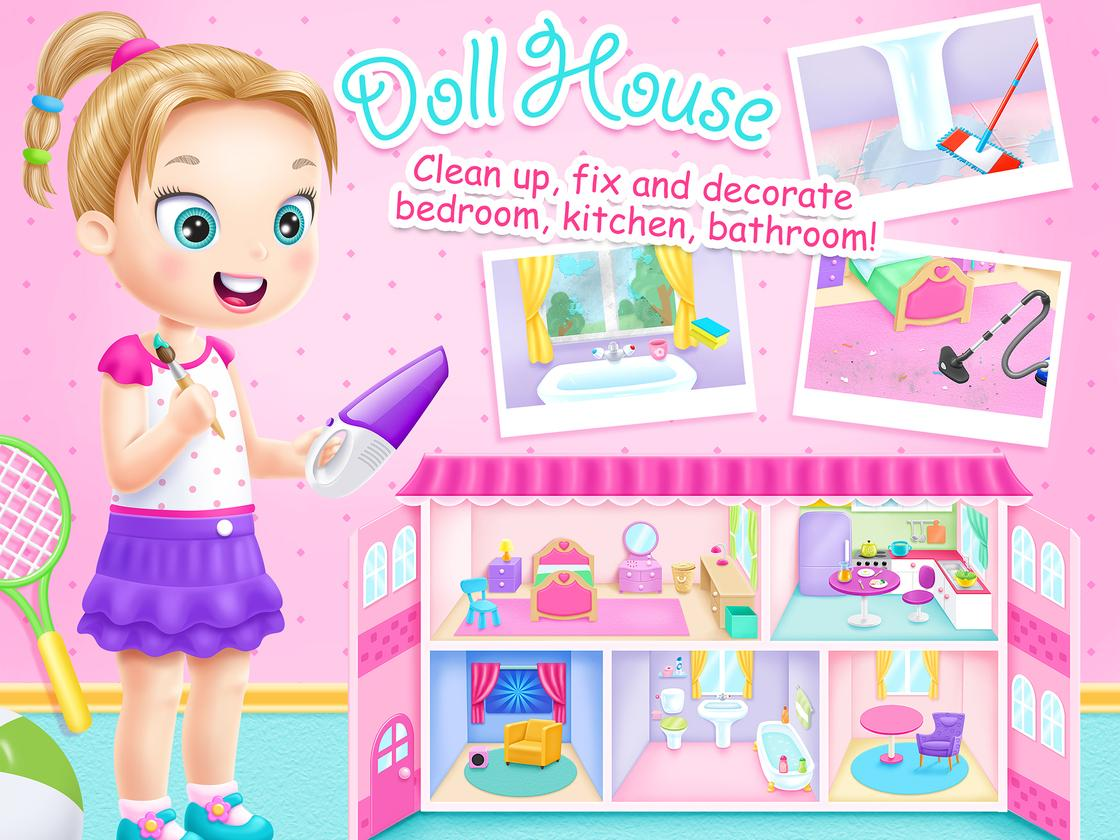 Doll house cleanup decoration game created with tutotoons for Animal decoration games for girls